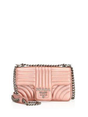 prada small diagramme leather shoulder bag in rose