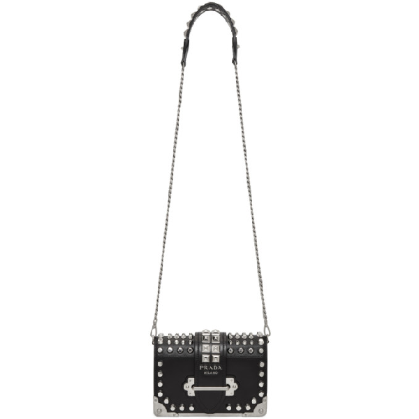 Prada Cahier Studded Leather Shoulder Bag In Black