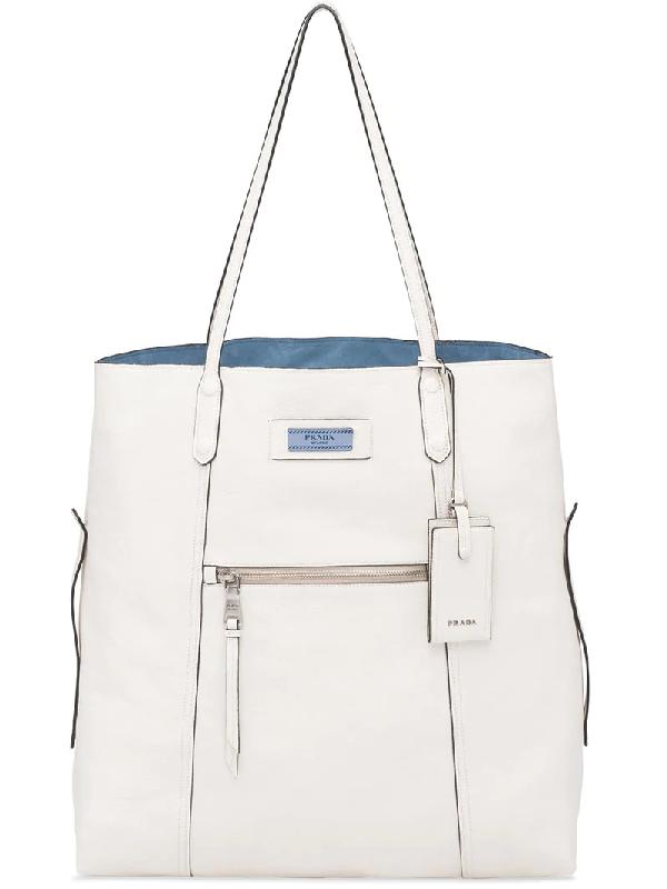 1a45151356cc Prada Glace Calf Etiquette Shoulder Tote Bag In White | ModeSens