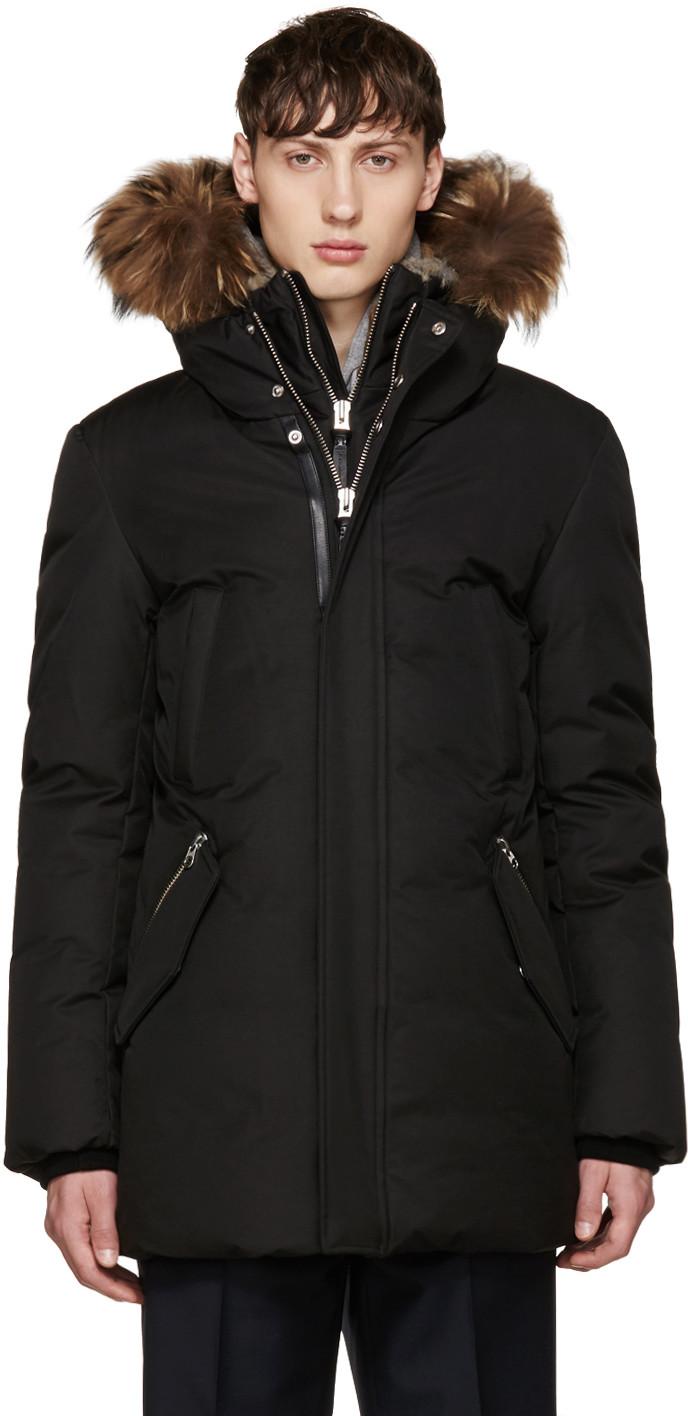 Mackage Edward Fur Trim Hooded Jacket In Black