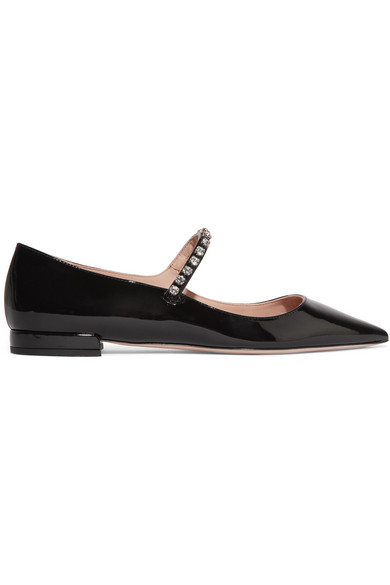 Miu Miu Crystal-embellished Patent-leather Point-toe Flats In Black