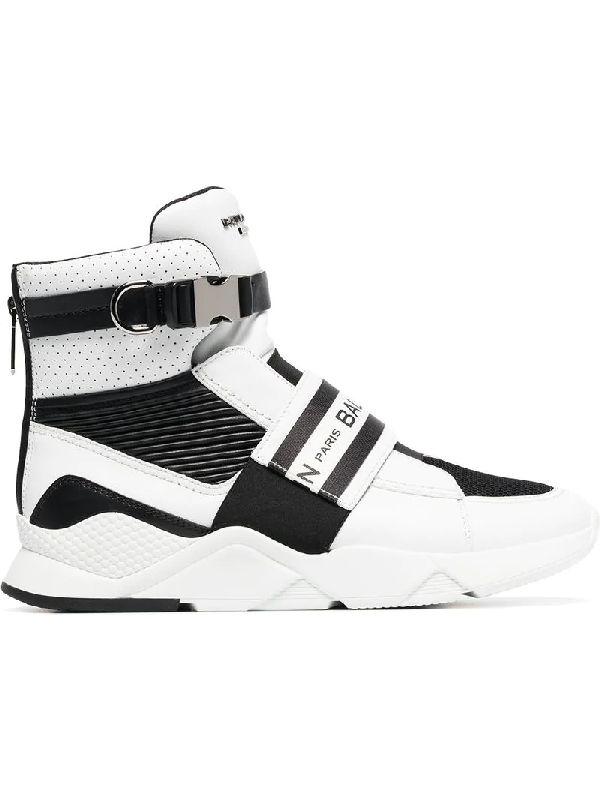 0c498aacc6 Balmain Exton White Perforated Leather High Top Men's Sneakers In ...