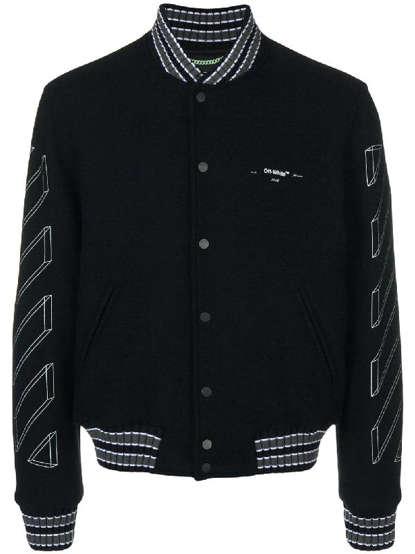 b1c083465 3D Line Black Wool-Blend Bomber Jacket