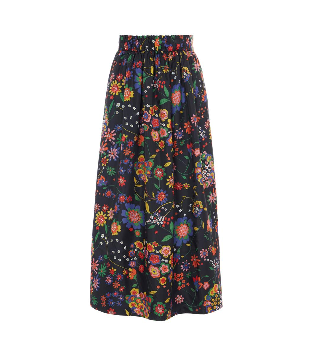 13771ffed3 Tibi Floral Smocked Waistband Skirt In Black. SIZE & FIT INFORMATION