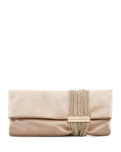 Jimmy Choo Chandra Shimmer Suede Chain Clutch Bag, Champagne In Sand