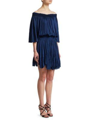 Halston Heritage Off-The-Shoulder Dress In Admiral Blue Multi