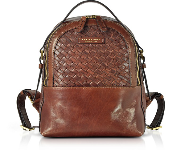The Bridge Salinger Woven Leather Women's Backpack In Brown