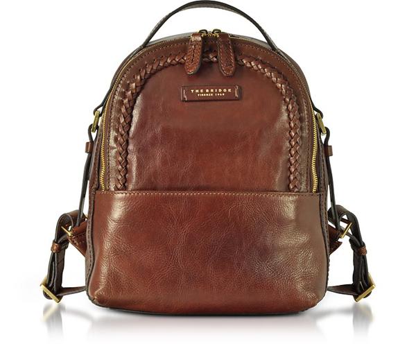 The Bridge Murakami Leather Backpack W/woven Trim In Brown
