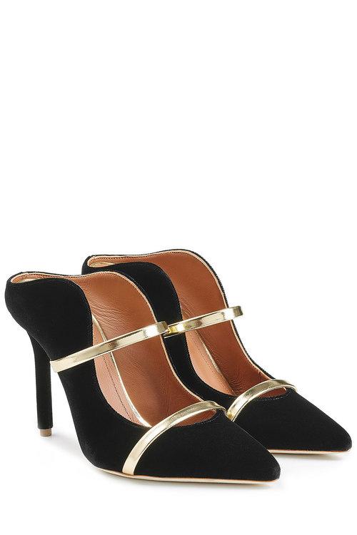 f04b5fa3df Malone Souliers Maureen Black Satin And Metallic Nappa Leather High Heel  Mules In Black/Gold