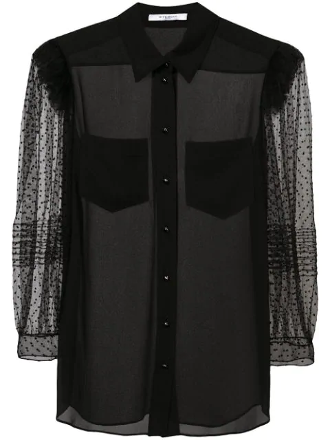 Givenchy Flocked Silk Crepe De Chine Blouse In Black