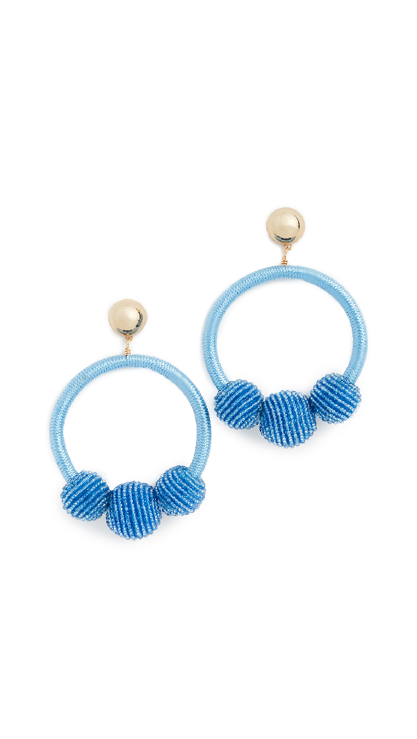 ff6e39452be73 The Bead Goes On Hoop Statement Earrings in Blue