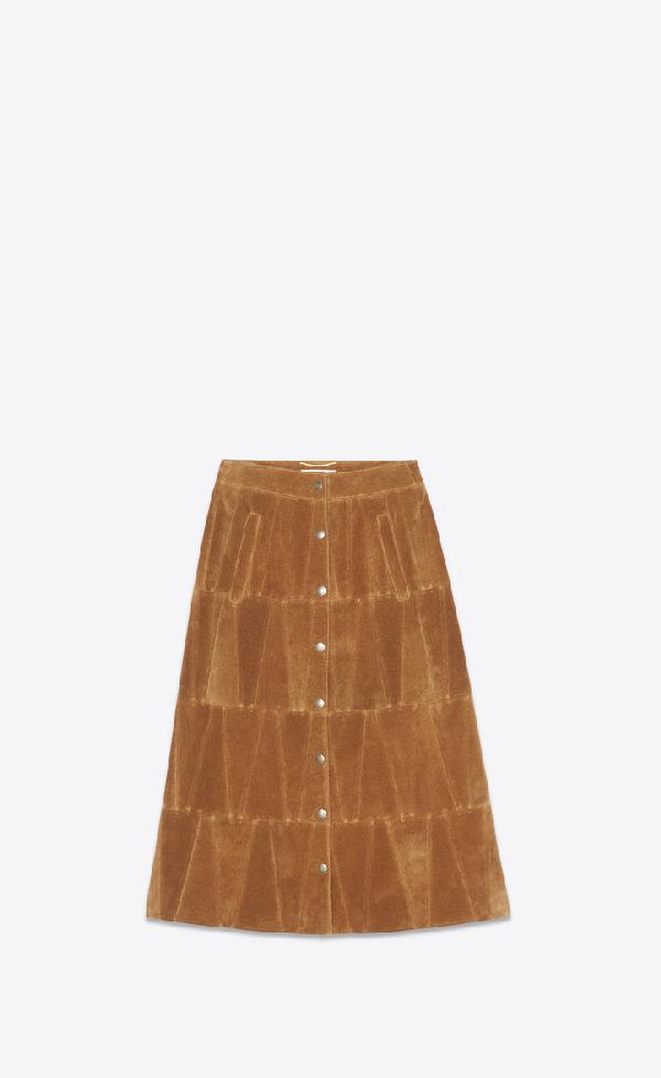 f28ddcb36b Saint Laurent Snap-Front Calfskin Suede Midi Skirt In Dune | ModeSens