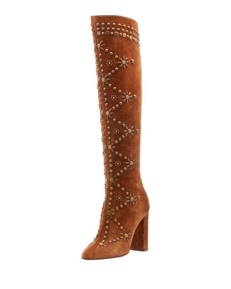 Saint Laurent Studded Ella Knee-High Boots 105 In Brown