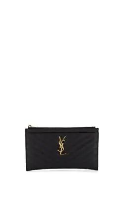 d01f19f771e Saint Laurent Monogram Ysl Matte Quilted Bill Pouch Wallet In Black ...