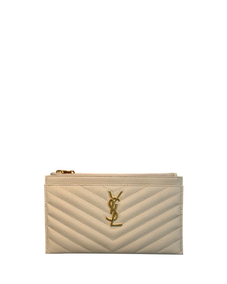 87a792a897e Saint Laurent Monogram Ysl Matte Quilted Bill Pouch Wallet In Navy ...