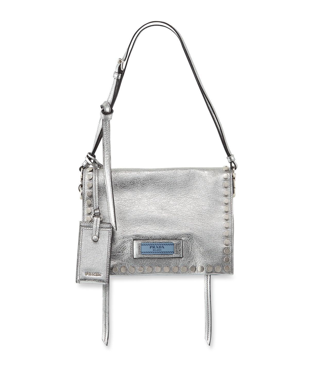 2deeb5ca4035 Prada Small Studded Glace Calf Etiquette Shoulder Bag