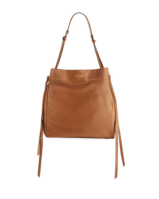 128c6198daac Prada Cervo Hobo Shoulder Bag In Yellow Metallic | ModeSens