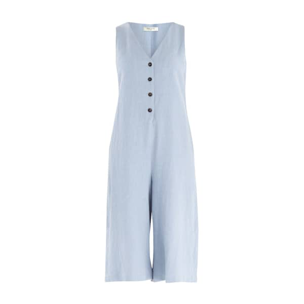 8440c63ca85f Paisie Denim Jumpsuit With Front Overlay   Side Tie (With Self Belt) In Blue