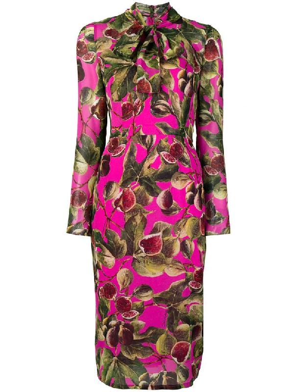 6f1dbe4b009 Dolce   Gabbana Long-Sleeve Tie-Neck Fig-Print Mid-Calf Dress In ...