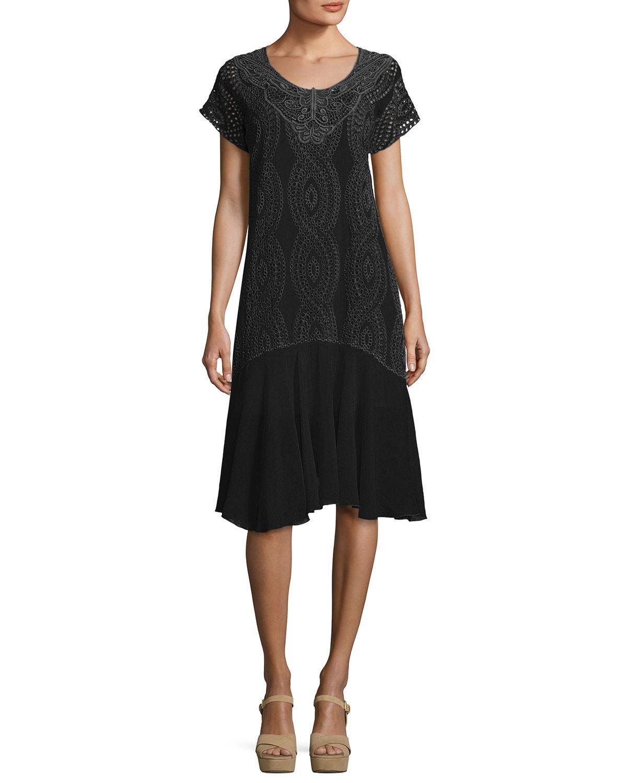 Halfrid Eyelet Dress With Chiffon Trim, Plus Size in Black