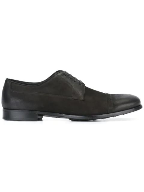 Dolce & Gabbana Sorrento Washed-suede Derby Shoes In Black