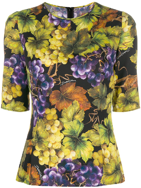 981da443 Dolce & Gabbana Crewneck Elbow-Sleeve Grape-Print Fitted Top In Yellow