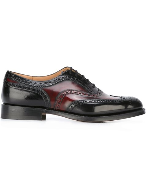 Church's Duo-color Burwood Wingtip Leather Oxfords In Black