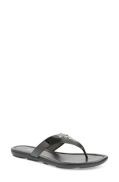 Prada Patent Logo Thong Sandals In Black