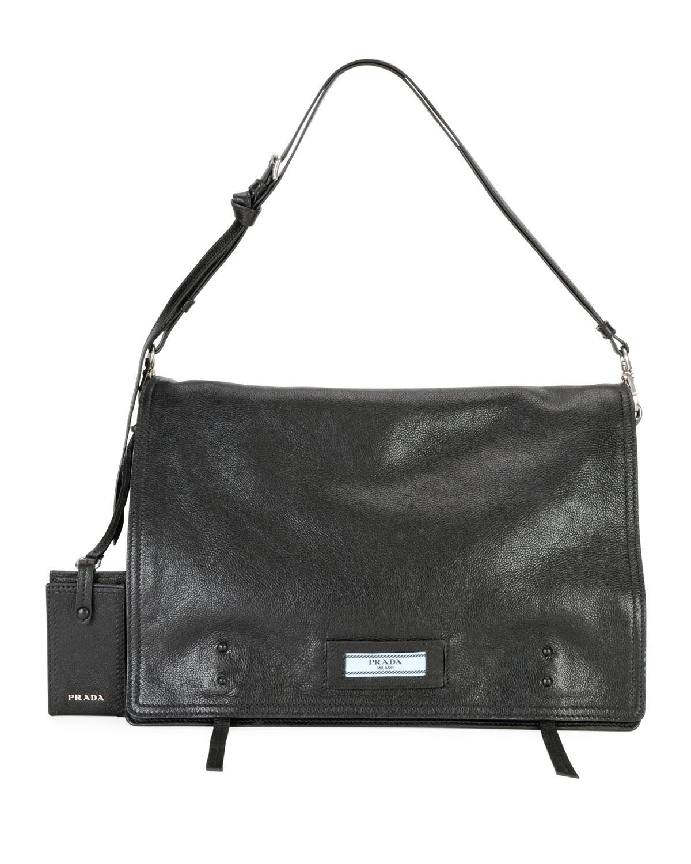 d18bc0f0c506 Prada Etiquette Large Glace Calf Leather Shoulder Bag In Black ...