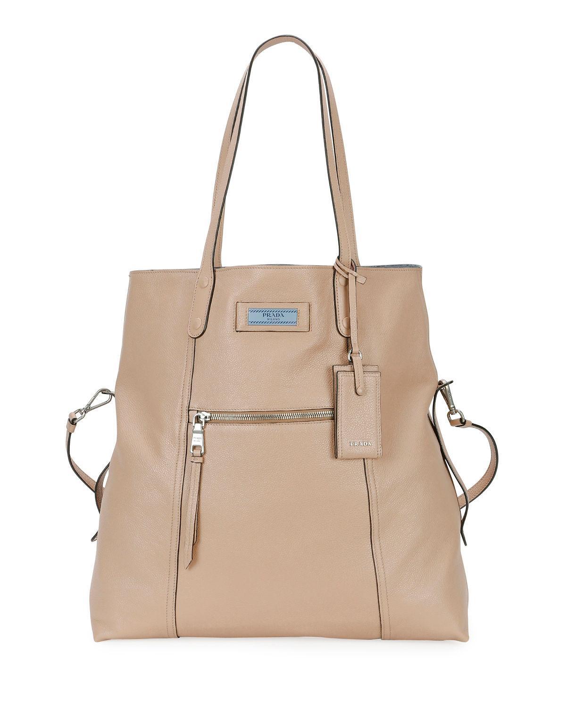 0f541052434d Prada Glace Calf Etiquette Shoulder Tote Bag In Beige