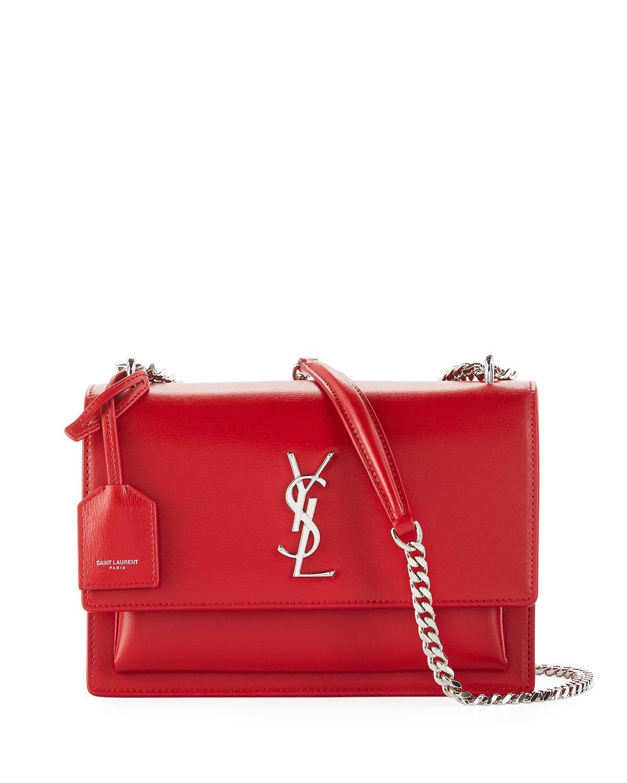 5ebee980630 Saint Laurent Sunset Medium Monogram Ysl Crossbody Bag In Medium Red ...