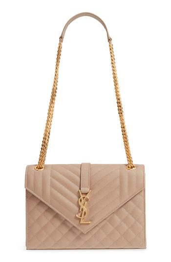 42b9118f1e64c6 Saint Laurent V Flap Monogram Ysl Medium Envelope Chain Shoulder Bag - Golden  Hardware In Light