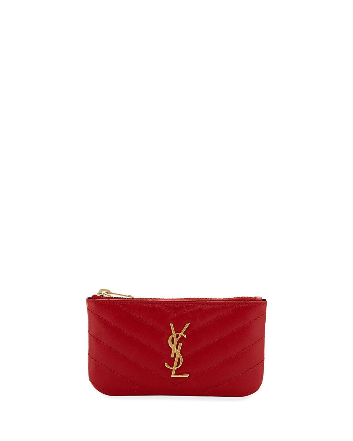 4f67952789dd Saint Laurent Loulou Monogram Ysl Mini Quilted Leather Zip Pouch With Key  Ring - Golden Hardware