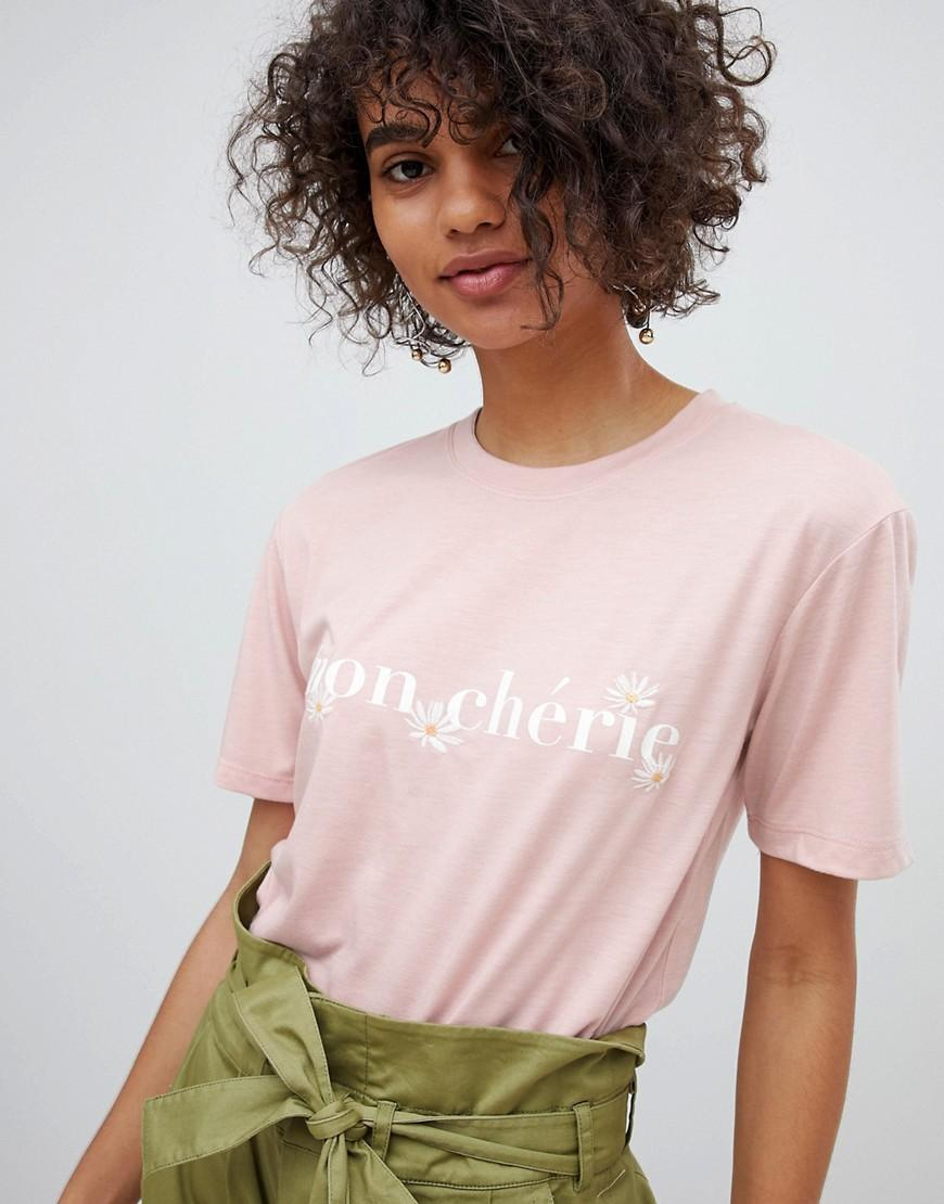 dbbea2d0d2525 Neon Rose Relaxed T-Shirt With Mon Cherie Print - Pink | ModeSens