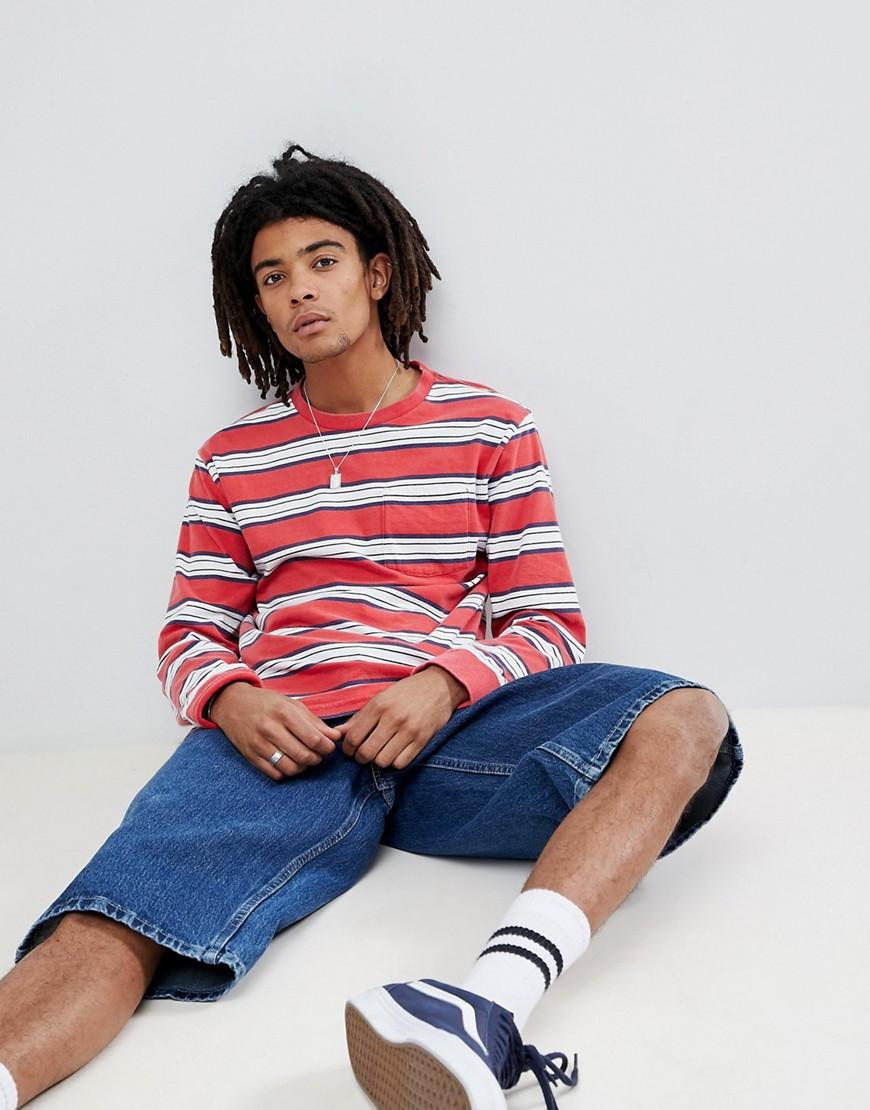 d735d5a655 Brixton Hilt Washed Long Sleeve Striped T-Shirt With Pocket - Red ...