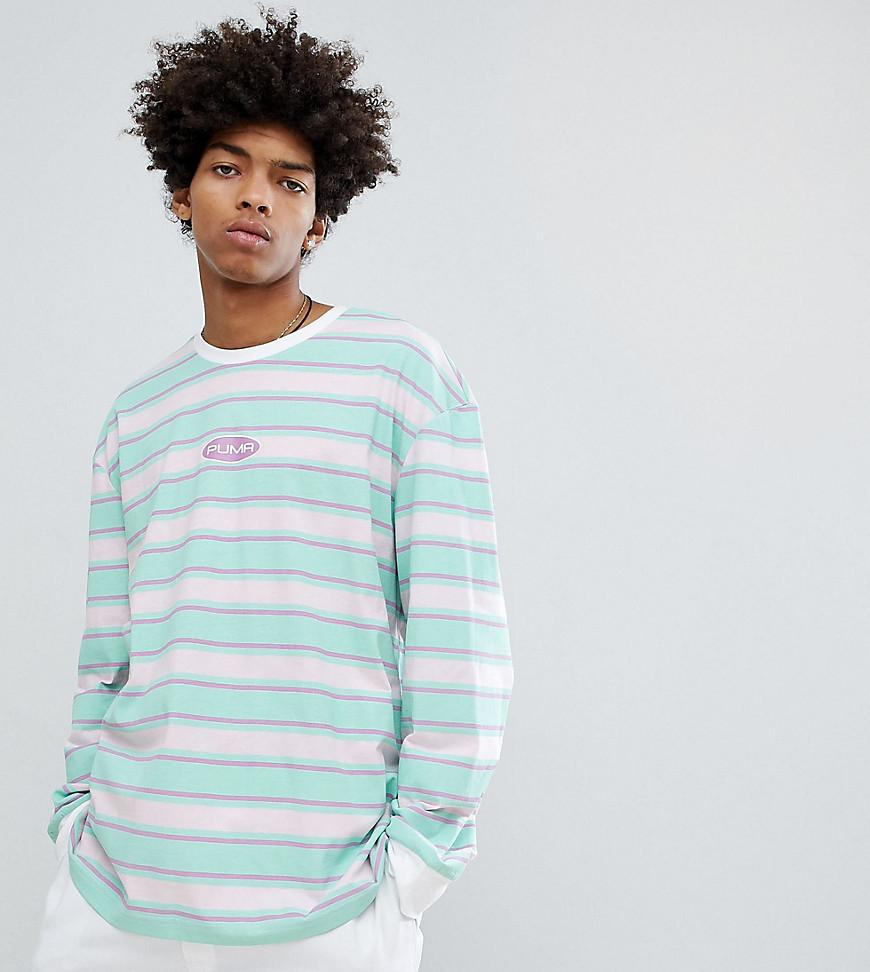 c16ecd90fbe Puma Organic Cotton Retro Stripe Long Sleeve T-Shirt In Pink Exclusive At  Asos -