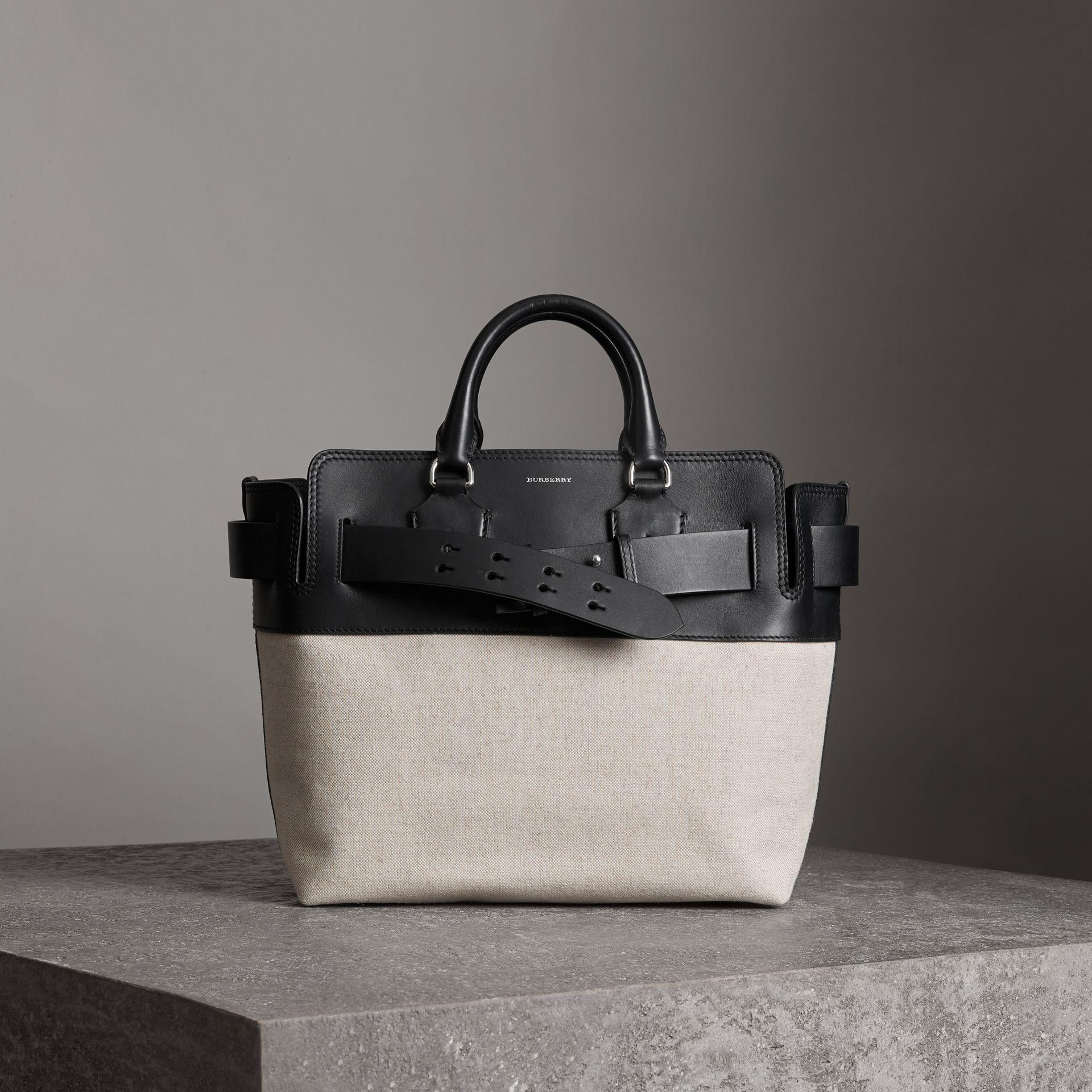 5ac9c7ecbc87 Burberry The Medium Canvas And Leather Belt Bag In Black