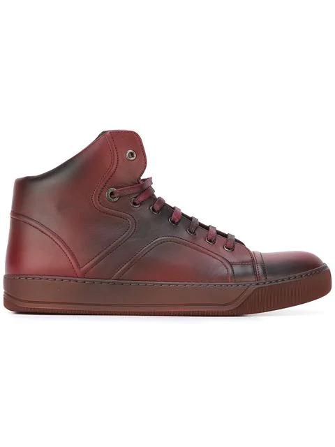 Lanvin Hi-top Spray Paint Sneakers In Red