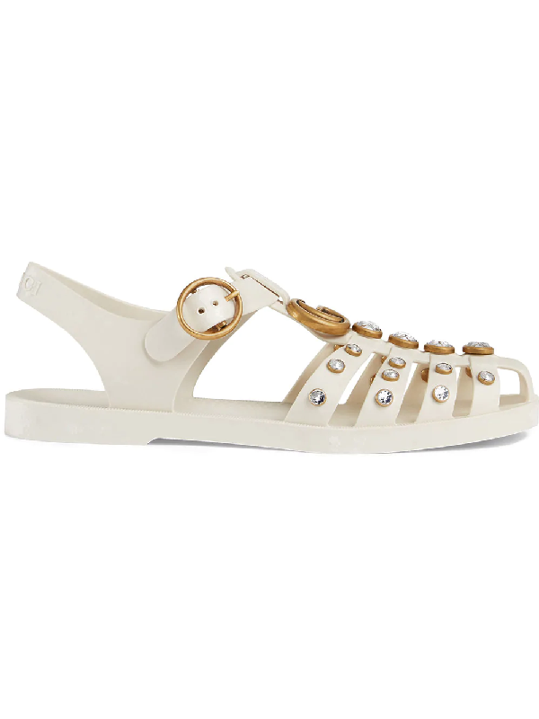 f4afbe38b Gucci Rubber Sandal With Crystals In White