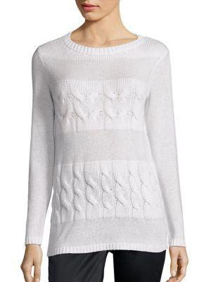 Lafayette 148 Cashmere Cable-Knit Sweater In Cloud