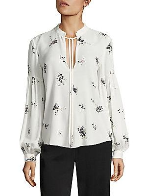 A.L.C Ty Lantern Sleeve Floral-Print Silk Blouse In White Multi