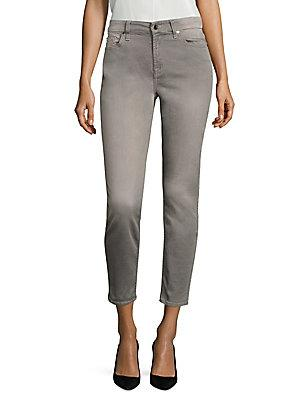7 For All Mankind Sateen Cropped Skinny Pants In Sateen Grey