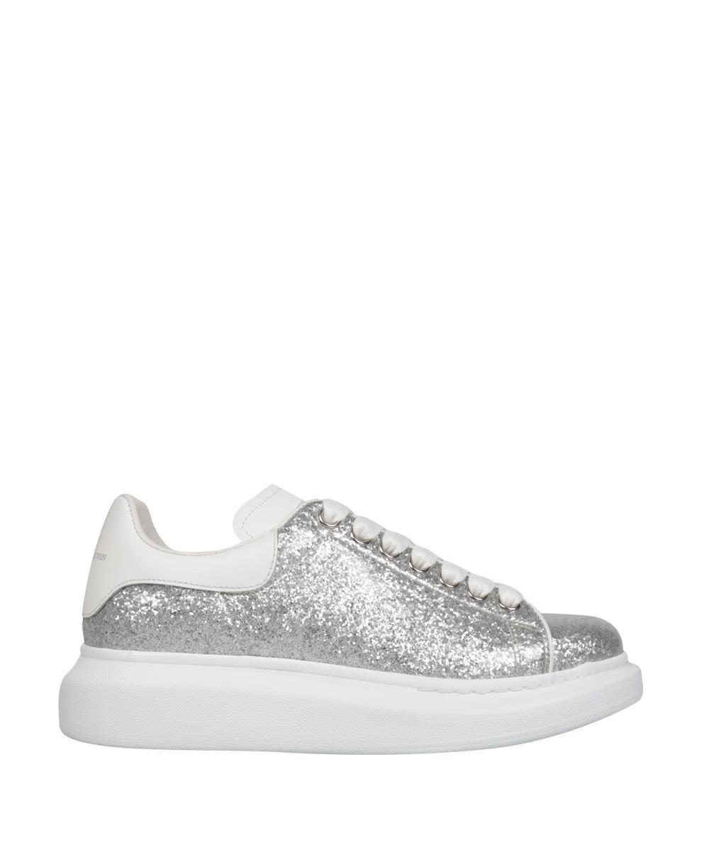 Sneakers Glitter Con Plateau in Argento