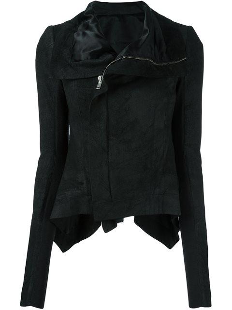 Rick Owens Stretch Cotton Biker Jacket In Black