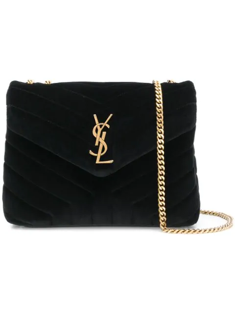 a83fb7fec3e Saint Laurent Small Loulou Velvet Shoulder Bag - Black | ModeSens
