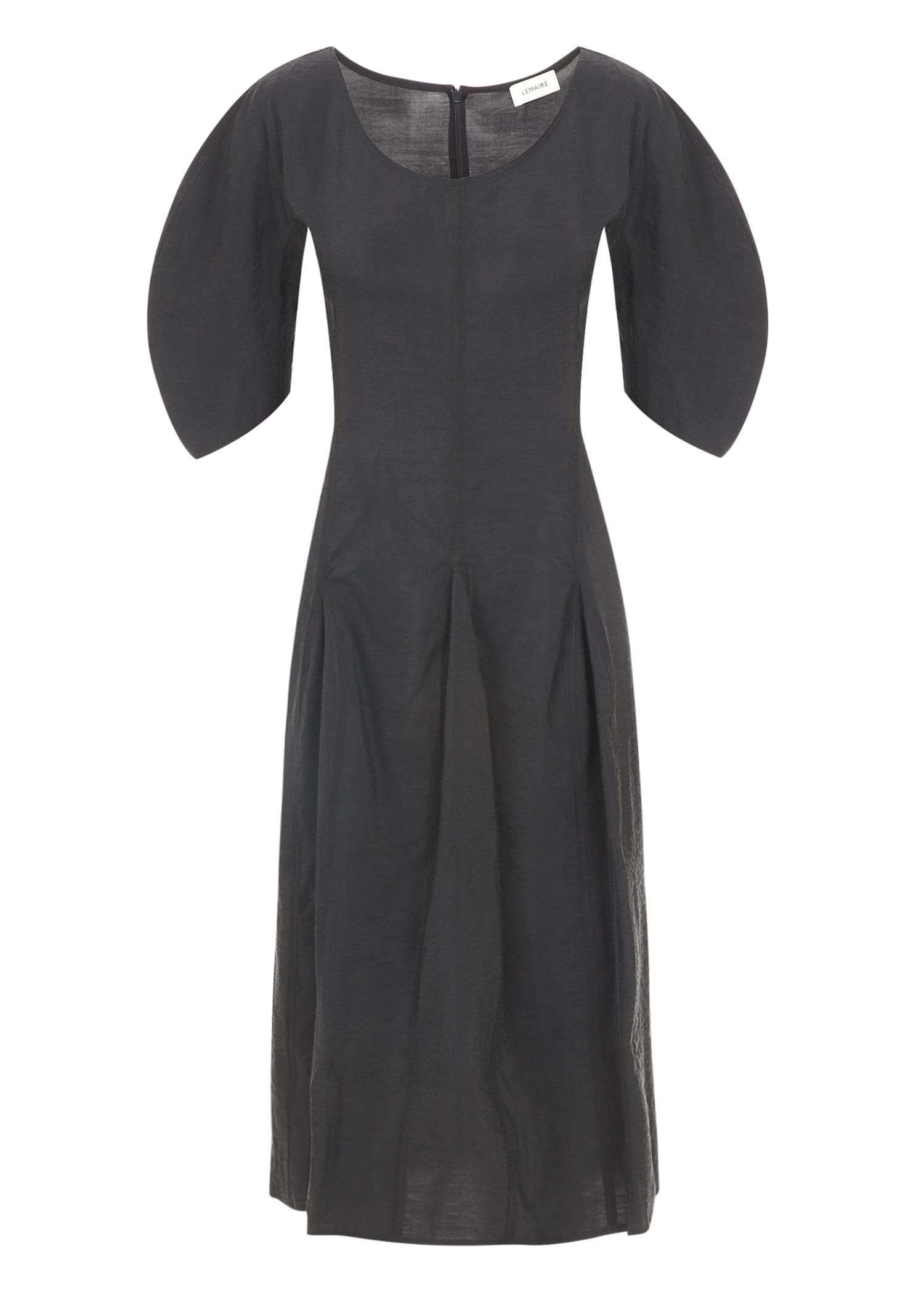 Lemaire Fitted Flared Silk Dress In Coal