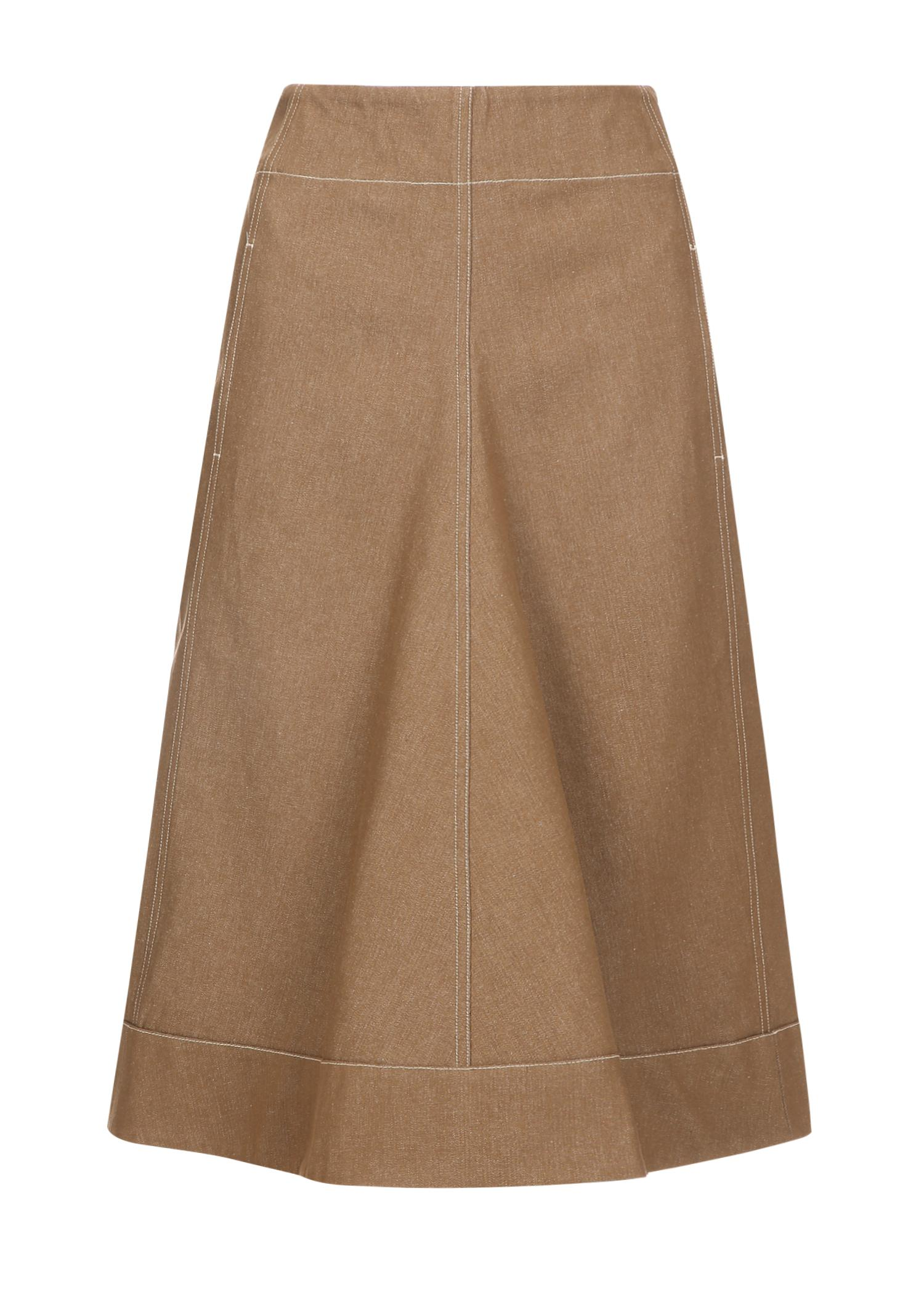 Lemaire Flared Denim Skirt In Tobacco