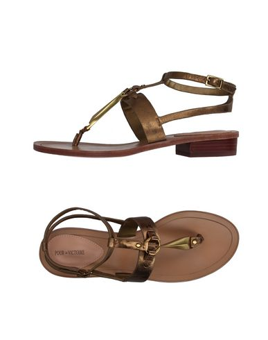 Pour La Victoire Toe Strap Sandals In Bronze