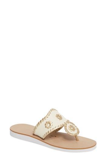 ba785a980 Jack Rogers Captiva Sandal In Ecru  Gold Canvas Fabric