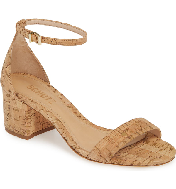 Schutz Chimes Ankle Strap Sandal In Natural Cork Fabric